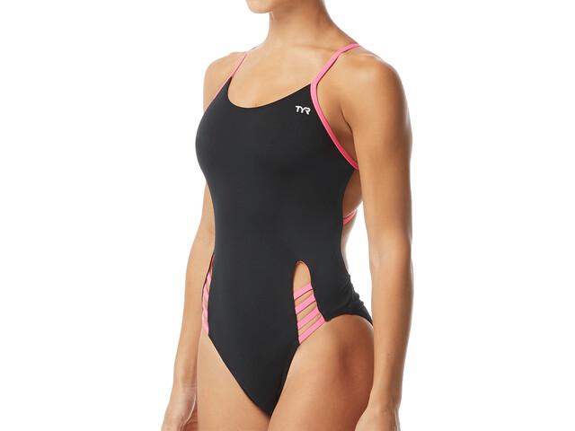 TYR Solid Tetrafit Swimsuit Women black/pink